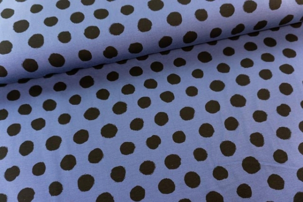 Baumwolljersey Black Bubbles jeansblau Ökotex 100