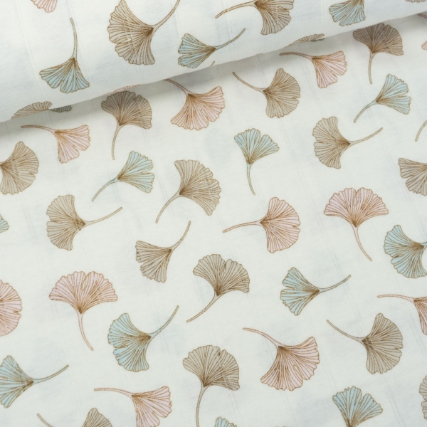Musselin Jersey Double Ginko Blätter ecru