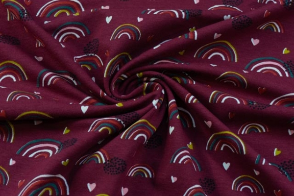 Bio-Baumwolljersey Lovely Rainbow bordeaux Ökotex 100