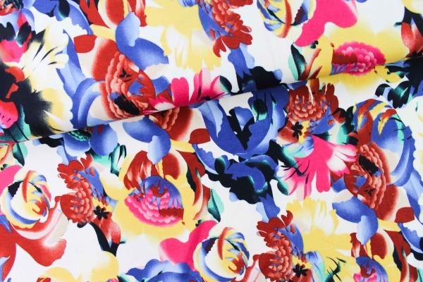 Viskosejersey Flowerpower gelb-pink-blau-rot Ökotex 100