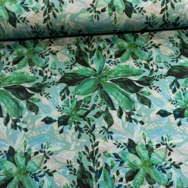 Viskosejersey Lilie Watercolor dusty mint