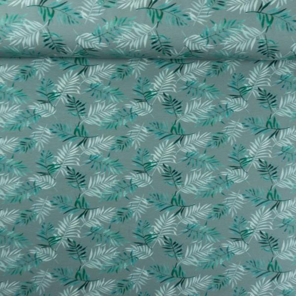 Baumwolljersey Digital Palmblätter dusty mint dunkel