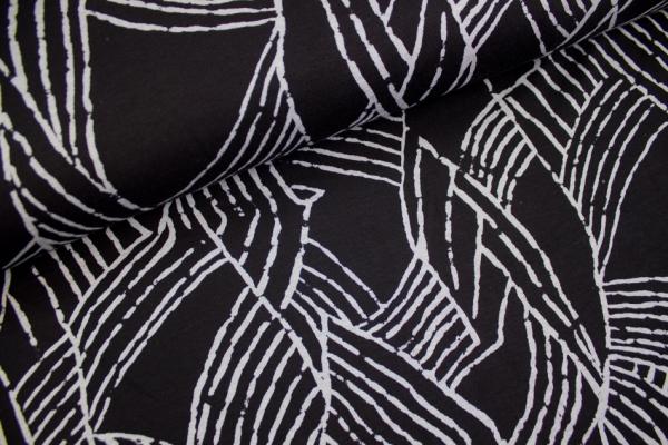 Jacquard Jersey Strokes schwarz-weiß meliert Ökotex 100