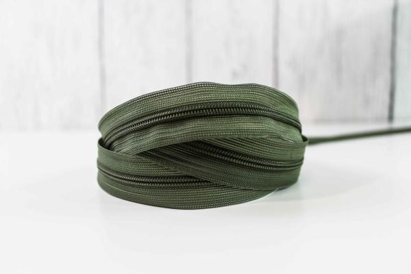Nahtverdeckter Reißverschluss oliv unsichtbar Ökotex 100