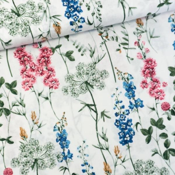 Gütermann Baumwollwebware Timeless Wildblumen weiß