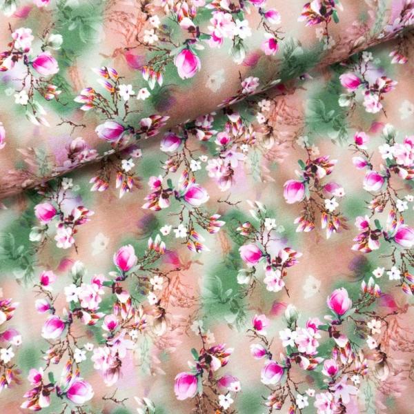 Viskosejersey Digital Faded Flower altrosa
