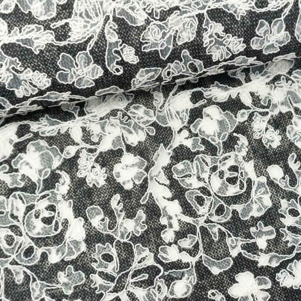 Chiffon Stickerei Blumen schwarz