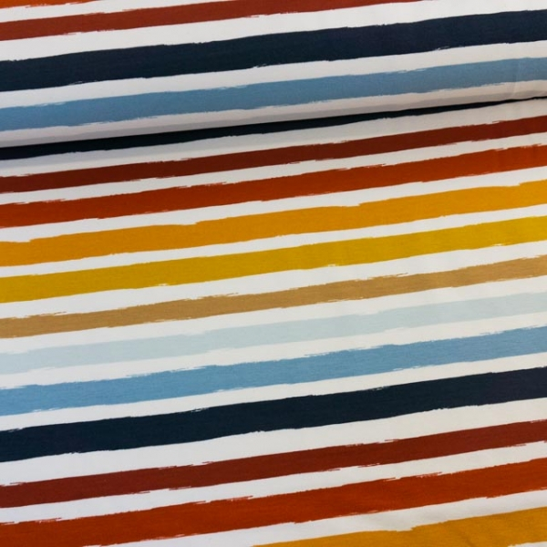 Sweat French Terry Stripes weiß-rot-hellblau-navy Ökotex 100