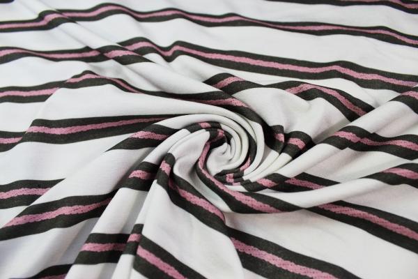 Viskosejersey Stripes taupe - Rope oldrose Ökotex 100