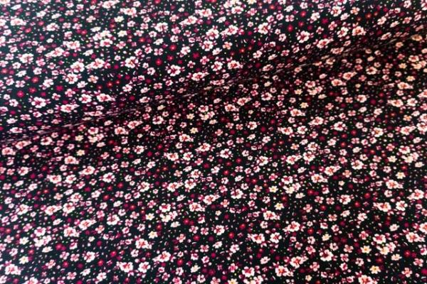 Baumwolljersey Flowery schwarz-beere Ökotex 100