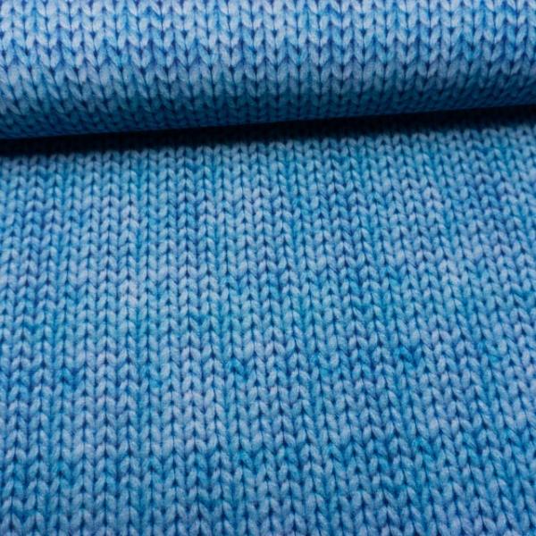 BIO Sweat angeraut Digital Knitlook jeansblau