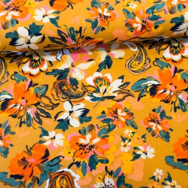 Baumwolljersey Watercolor Flowers senf