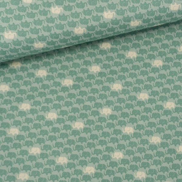 Baumwollwebware Elefanten dusty mint