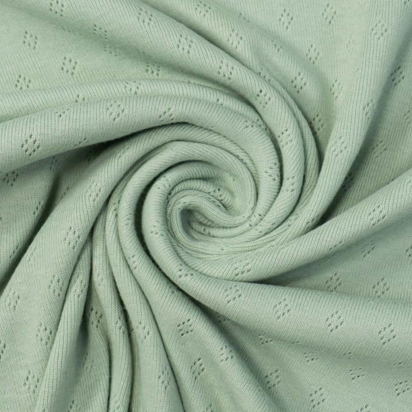 Baumwoll Lochstrick Jersey dusty mint