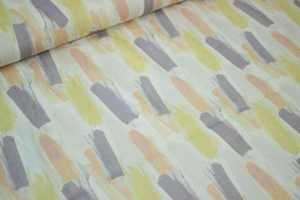 "Hosenstoff "" Painted Stripes "" ecru/hellgelb/flieder/apricot Elastic Satin"