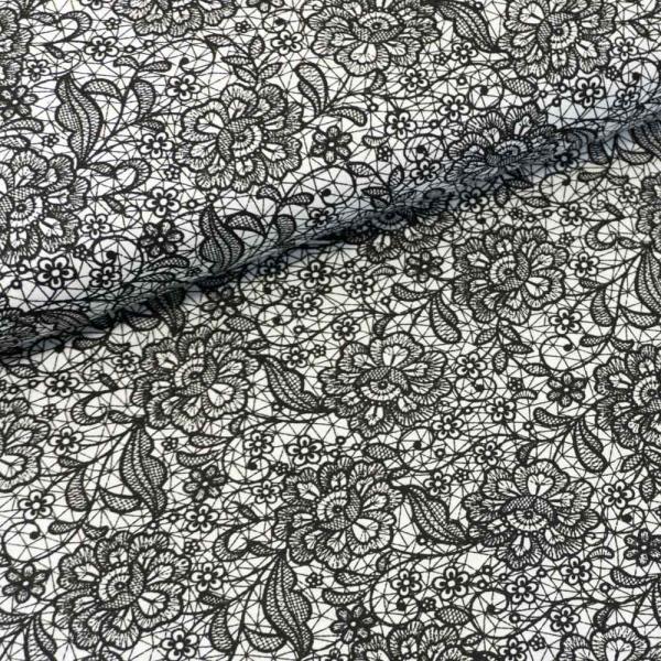 Baumwollwebware Italienische Kollektion Lace schwarz