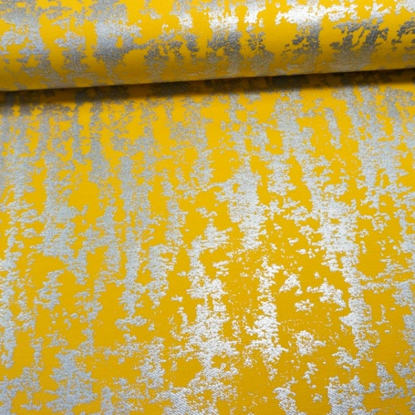 Poloshirt Baumwolljersey Silber Foliendruck gelb
