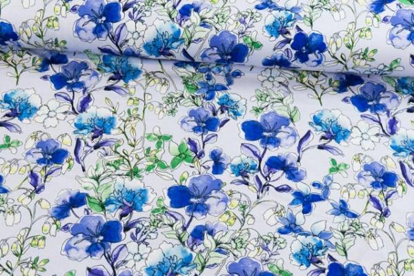 Viskosejersey Blumengewächs Aquarell blau Ökotex 100