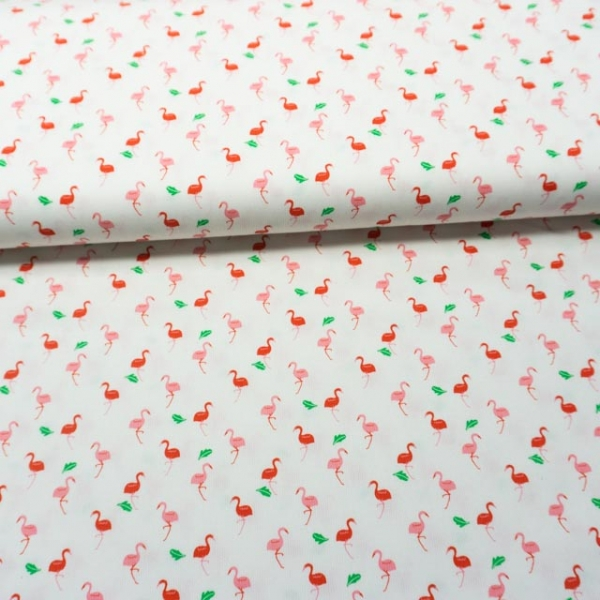 Babypique Baumwolle kleine Flamingos weiß-rosa
