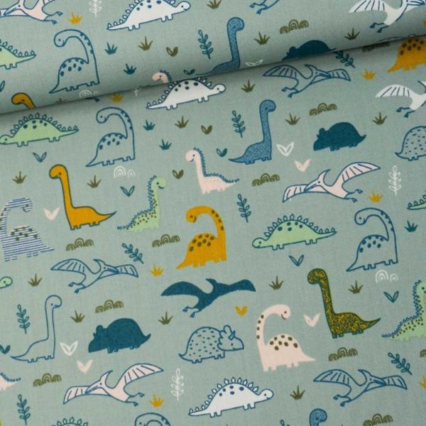 Baumwollwebware Little Dinos dusty mint