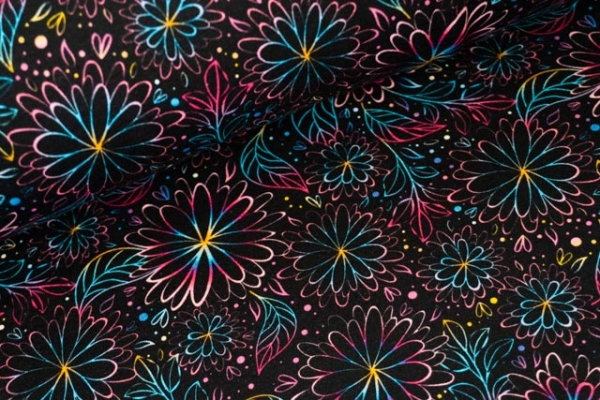 Bio-Baumwolljersey Pretty Fine Blossom Rainbowfading Ökotex 100
