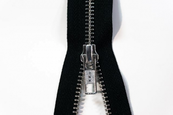 YKK teilbarer Reißverschluss Metall schwarz Ökotex 100