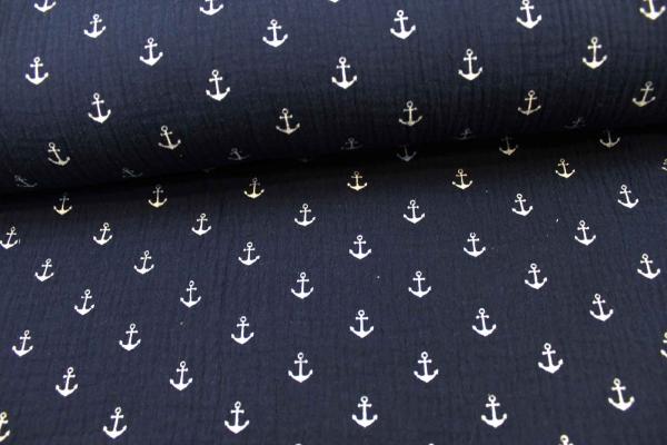 Musselin Anker navy-weiß Ökotex 100 100% Cotton