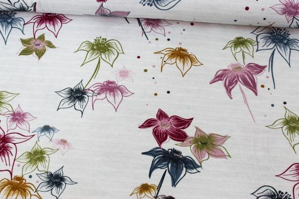 Baumwolljersey Big Blossom meliert weiß-mix Ökotex 100