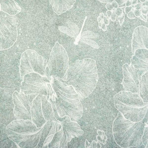 Bio-Baumwolljersey Linear Flower Melange grau