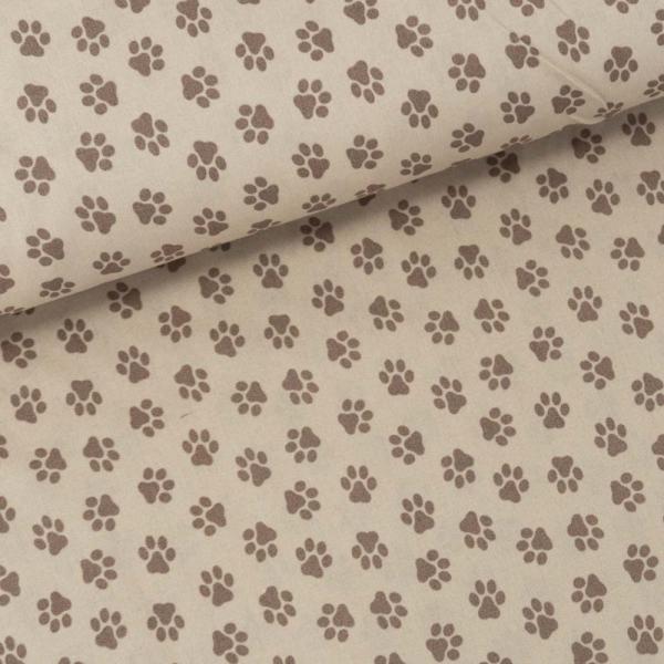 Baumwollwebware Pfoten taupe