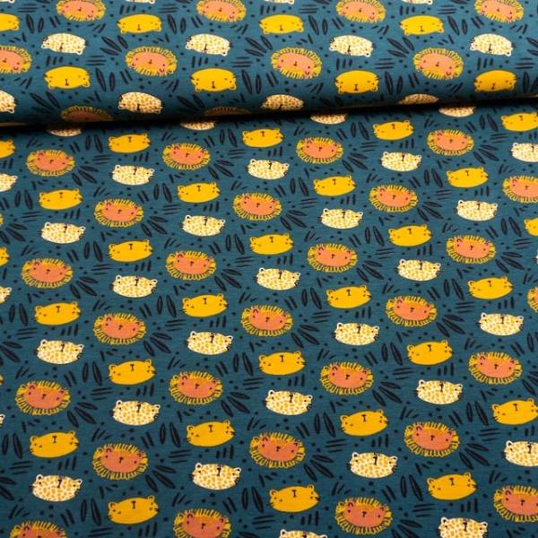 BIO Baumwolljersey Digital WIld Cats petrol