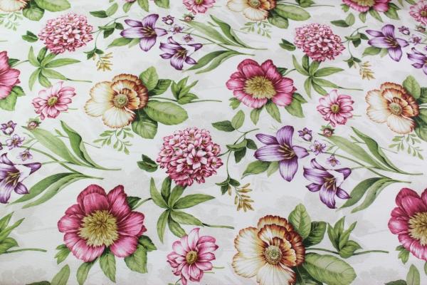 Beschichtete Webware Wachstuch Blumenwelt Vintage Öko Tex 100