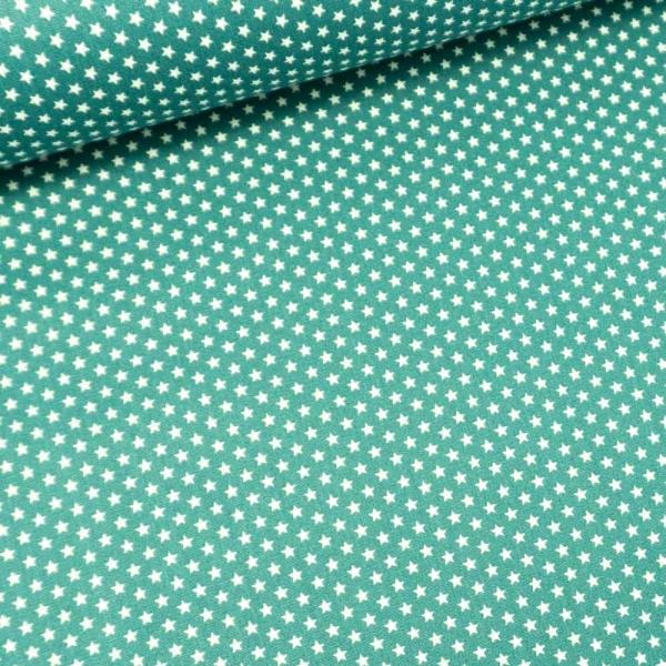 Baumwollwebware Mini Sterne dusty mint