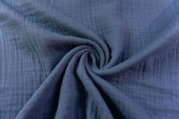 Musselin SCHWER Triple Gauze Uni jeansblau 100% Baumwolle Ökotex 100