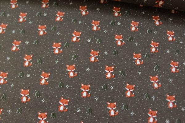 Baumwolljersey Little Fox braun Öko Tex 100