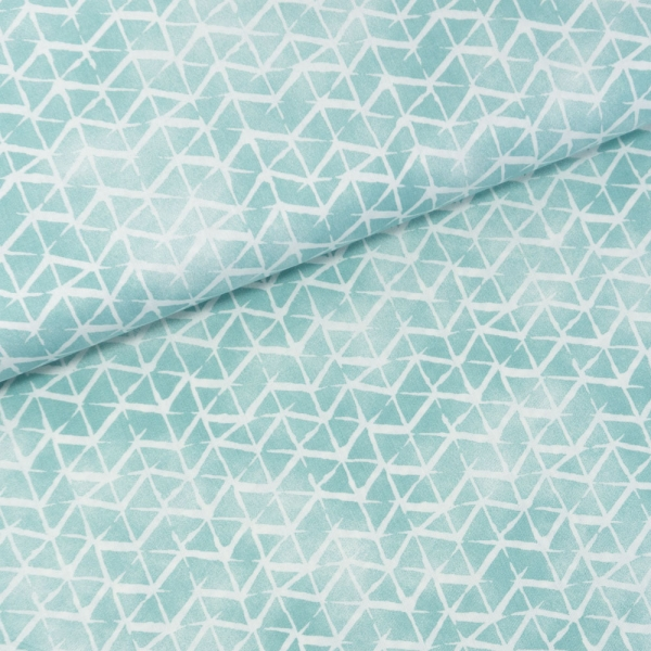 Baumwollwebware Italienische Kollektion Grafisch mint-weiß Ökotex 100