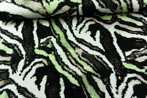 Viskosejersey Animal schwarz-lime-taupe Ökotex 100