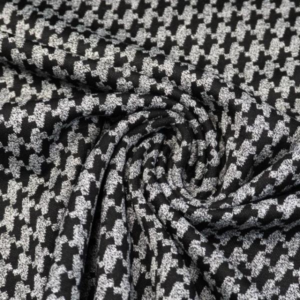 Jacquard Jersey Hahnentritt schwarz-grau