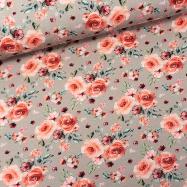 Baumwolljersey Digital Romantische Rosen taupe-hell
