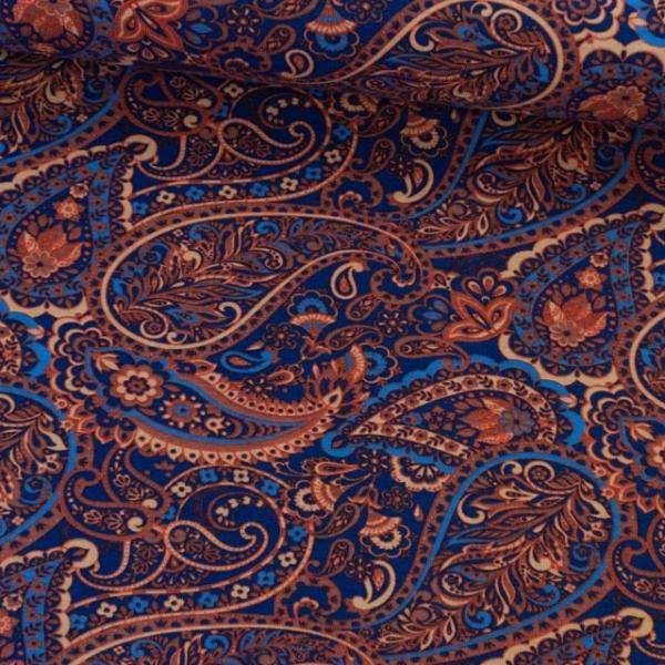 Baumwolljersey Paisley dunkelblau Ökotex 100