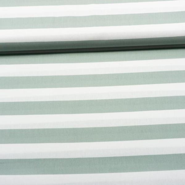 Baumwollwebware Blockstreifen weiß-dusty mint