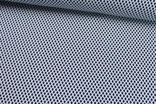 Elastische Baumwolle Raute navy-weiß Poplin Stretch Öko Tex 100
