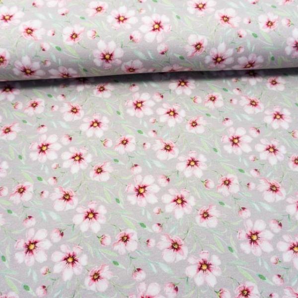 BIO Baumwolljersey Spring Blossom hellgrau