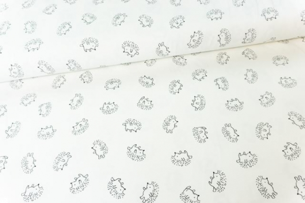 Baumwolljersey Hedgehog ecru-schwarz Ökotex 100