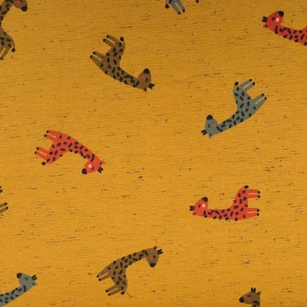 Baumwolljersey Melange Babygiraffen senf
