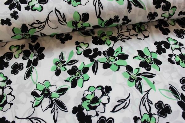 Viskose Flowers mint-schwarz-weiß Ökotex 100