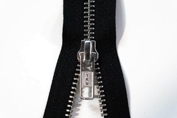YKK nicht teilbarer Reißverschluss Metall schwarz Ökotex 100