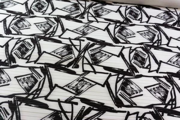 Plissee Druck Ornamente weiß - schwarz Ökotex 100