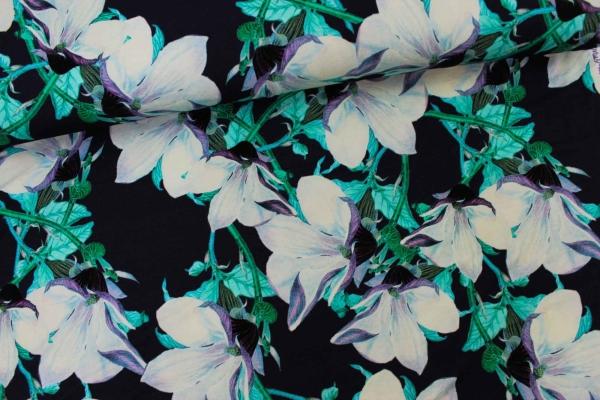 Viskosejersey Green Flowers Ökotex 100