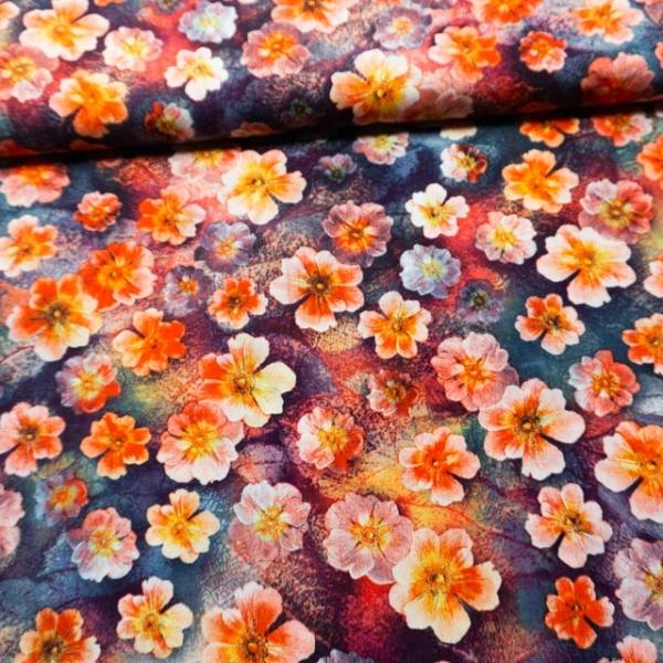 Viskosewebware Blütenkopf dark berry